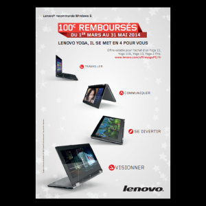 offre de remboursement portable lenovo yoga 100 catalogues promos bons plans economisez. Black Bedroom Furniture Sets. Home Design Ideas