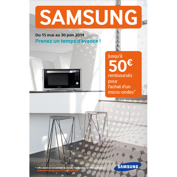 offre de remboursement samsung 50 sur micro ondes. Black Bedroom Furniture Sets. Home Design Ideas