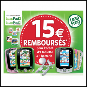 offre de remboursement leapfrog 15 sur l achat d une tablette une batterie. Black Bedroom Furniture Sets. Home Design Ideas
