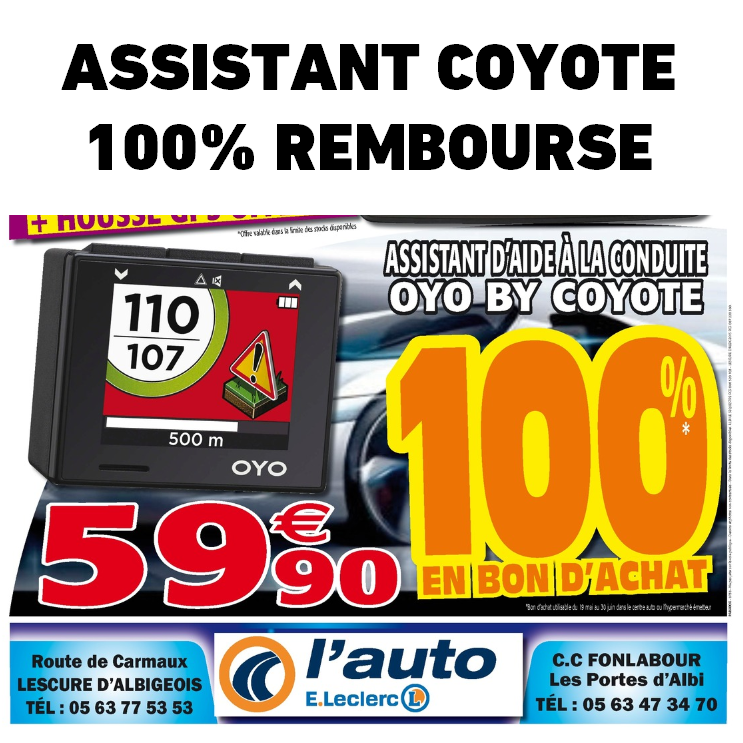 assistant la conduite coyote 100 rembours leclerc albi catalogues promos bons plans. Black Bedroom Furniture Sets. Home Design Ideas
