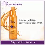 Test de Produit Beauté Test : Huile Solaire Spray Fraîcheur SPF50 - Intelligence Soleil de Dr Pierre Ricaud - anti-crise.fr