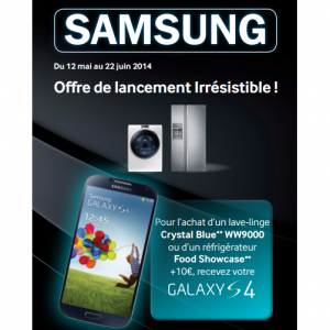 bon plan samsung pour l achat d un lave linge ou d un r frig rateur un smartphone galaxy s4. Black Bedroom Furniture Sets. Home Design Ideas