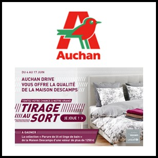 tirage au sort auchan drive sur facebook parure de lit et linge de bain maison descamps gagner. Black Bedroom Furniture Sets. Home Design Ideas