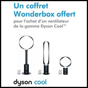 bon plan dyson un coffret wonderbox offert pour l achat d un ventilateur. Black Bedroom Furniture Sets. Home Design Ideas