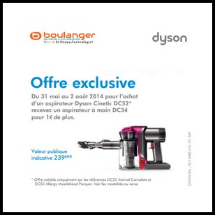 bon plan dyson boulanger un aspirateur main dc34 pour 1 de plus. Black Bedroom Furniture Sets. Home Design Ideas