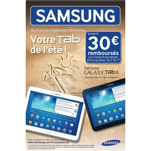 offre de remboursement 30 sur tablette samsung galaxy tab 3. Black Bedroom Furniture Sets. Home Design Ideas