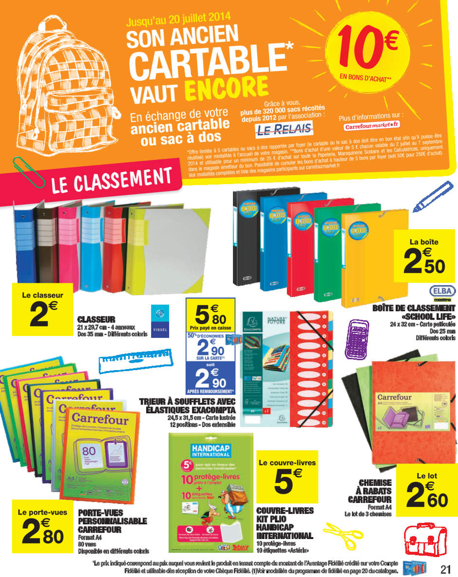 bon plan rentr e scolaire les offres carrefour market du 15 au 20 juillet. Black Bedroom Furniture Sets. Home Design Ideas