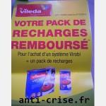 Offre de Remboursement (ODR) Vileda : Pack de recharges 100 % remboursé pour l'achat d'un système Virobi - anti-crise.fr