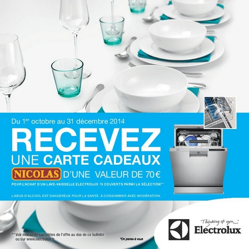 bon plan lave vaisselle electrolux carte cadeau nicolas 70 offerte. Black Bedroom Furniture Sets. Home Design Ideas