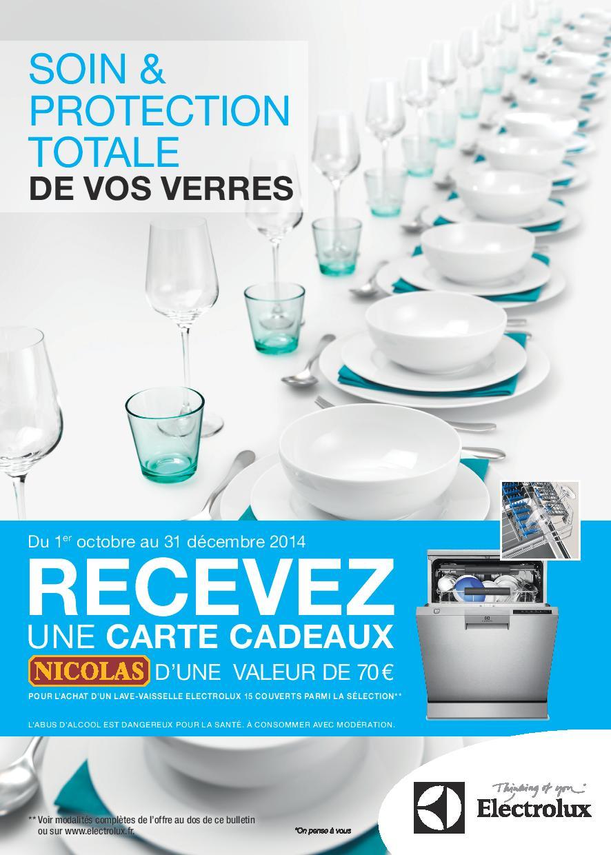 bon plan lave vaisselle electrolux carte cadeau nicolas 70 offerte. Black Bedroom Furniture Sets. Home Design Ideas