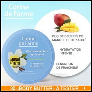 Test de produit Beauté Addict : Baume réparateur après-soleil Corine de Farme - anti-crise.fr