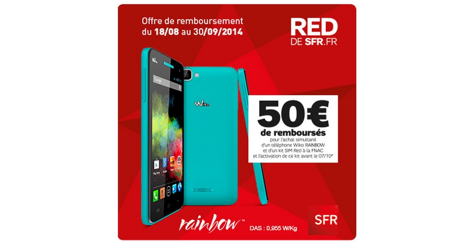 offre de remboursement odr wiko 50 sur un smartphone rainbow un kit red ls de sfr. Black Bedroom Furniture Sets. Home Design Ideas