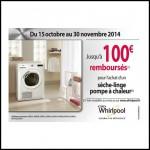 Offre de Remboursement (ODR) Whirlpool : Jusqu'à100€ remboursés pour l'achat d'un sèche-linge pompe à chaleur - anti-crise.fr