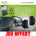 bon plan pc acer achete jeu assassin's creed unity offert