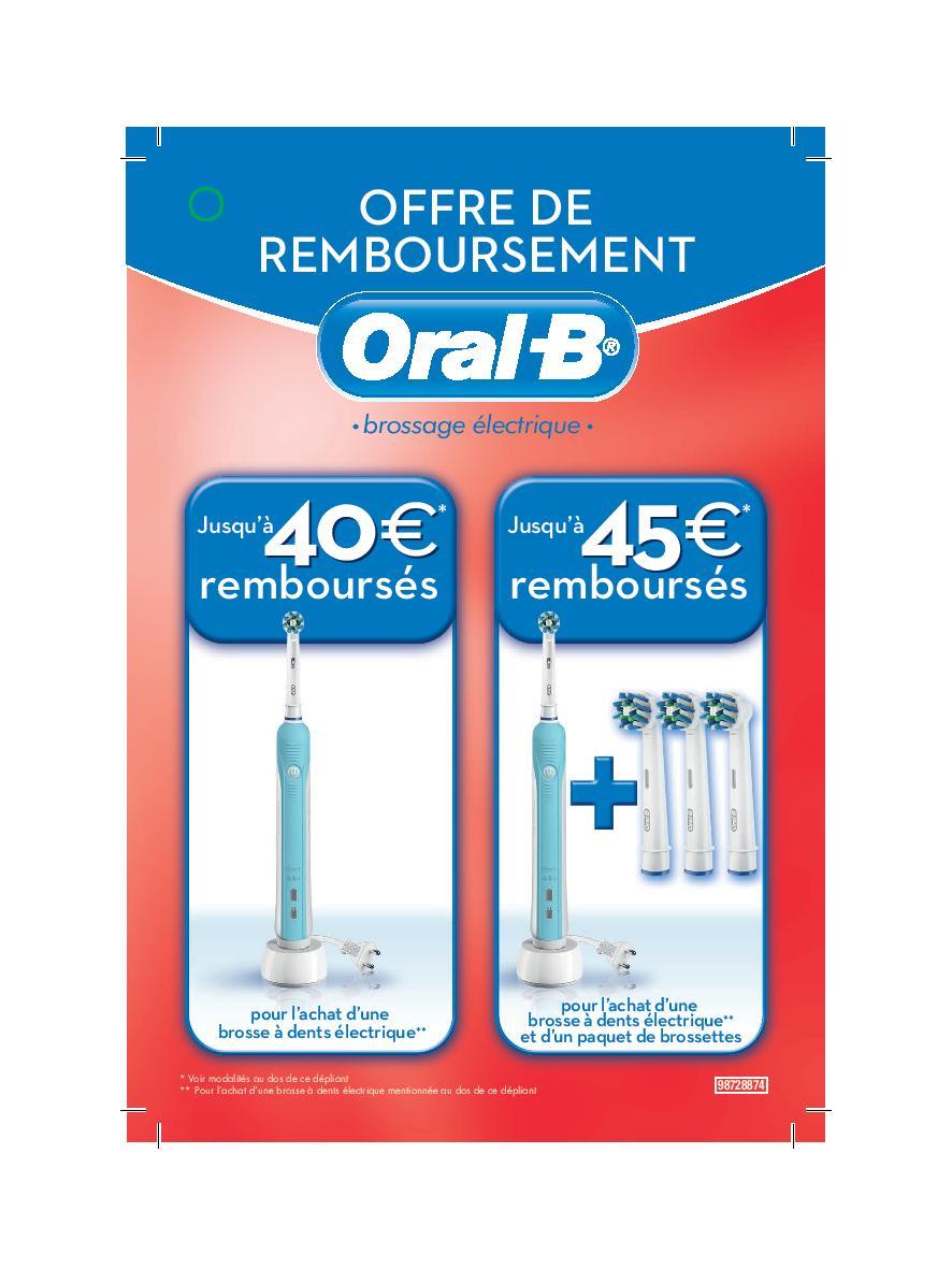 offre de remboursement odr oral b jusqu 45 pour l achat d une brosse dents lectrique. Black Bedroom Furniture Sets. Home Design Ideas