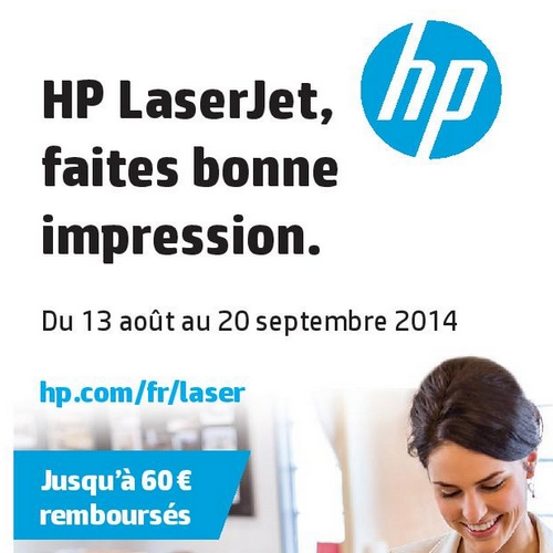 offre de remboursement odr 60 sur imprimante et toner hp laserjet. Black Bedroom Furniture Sets. Home Design Ideas