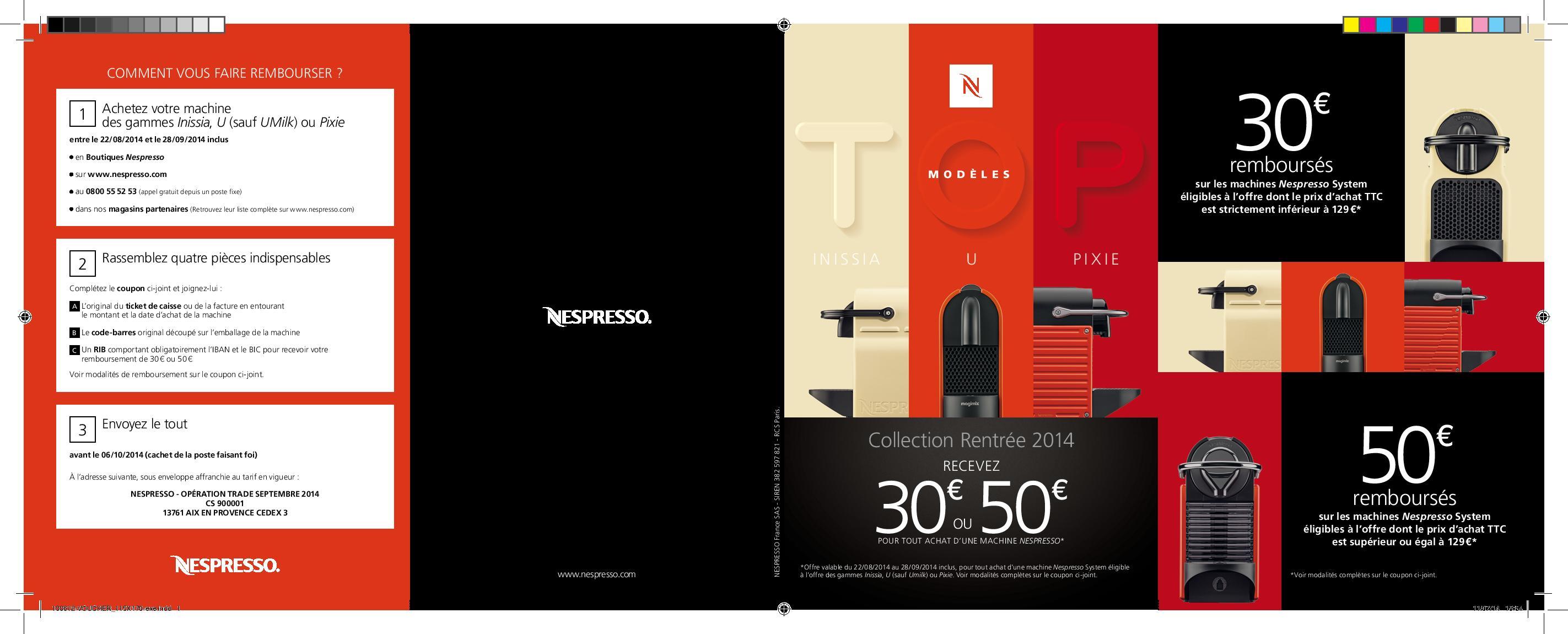 offre de remboursement odr nespresso jusqu 50 sur votre machine caf. Black Bedroom Furniture Sets. Home Design Ideas