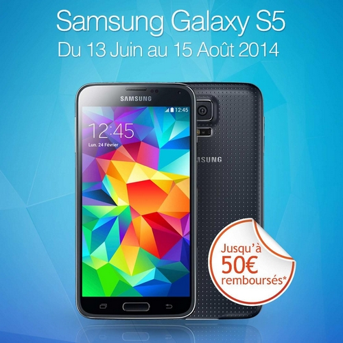 offre de remboursement odr 50 sur smartphone samsung galaxy s5 sur. Black Bedroom Furniture Sets. Home Design Ideas