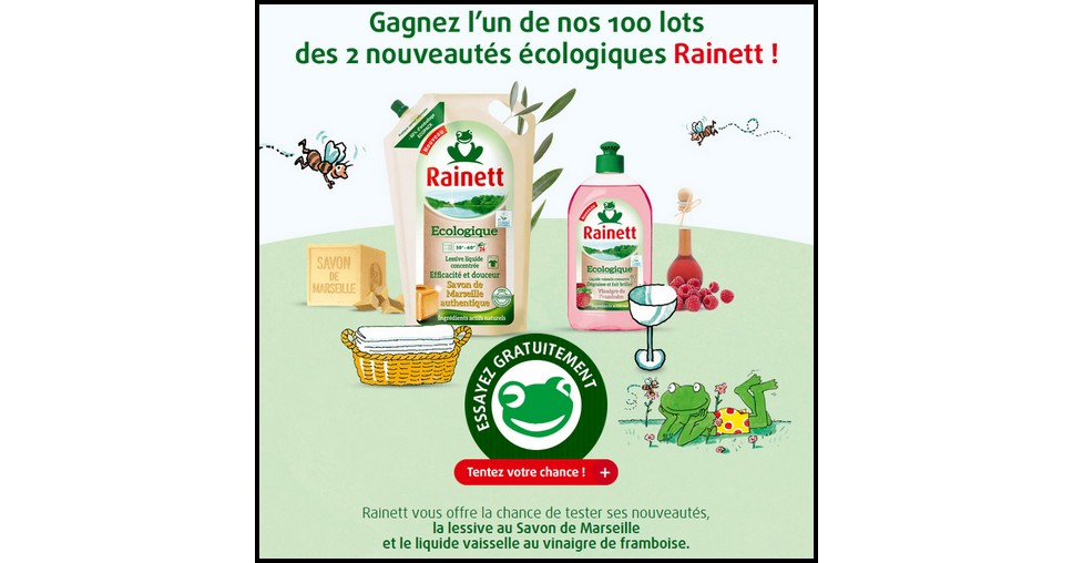 Instants GAgnants Rainett sur Facebook : 1 Lessive et 1 Liquide Vaisselle à Gagner - anti-crise.fr