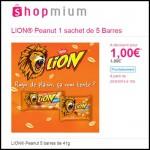 Offre de Remboursement (ODR) Shopmium : LION® Peanut 5 barres de 41g à 1 € - anti-crise.fr
