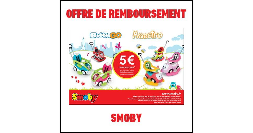 Offre de Remboursement (ODR) Smoby : 5 € sur un porteur Bubble Go ou Maestro - anti-crise.fr