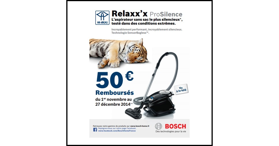 offre de remboursement odr bosch 50 sur aspirateur sans sac relaxx x prosilence. Black Bedroom Furniture Sets. Home Design Ideas