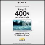 Offre de Remboursement (ODR) Sony : Jusqu'à 400 € sur TV 4K Ultra HD - anti-crise.fr
