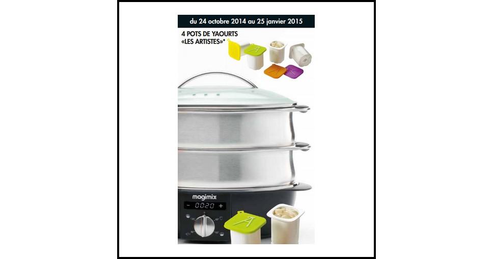 bon plan magimix 1 cuiseur vapeur multifonction achet 4 pots de yaourts les artistes. Black Bedroom Furniture Sets. Home Design Ideas