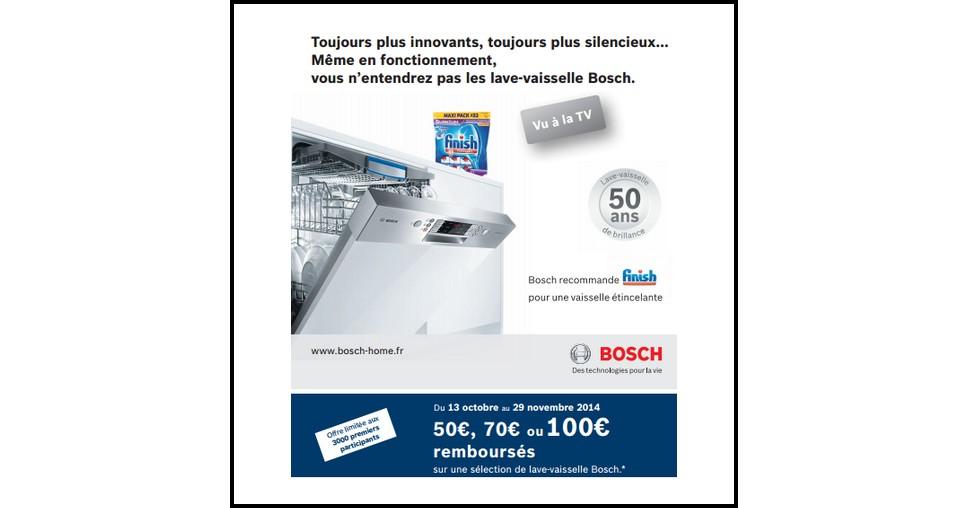 Offre de remboursement odr bosch jusqu 100 sur les for Bosch sms53m62ff