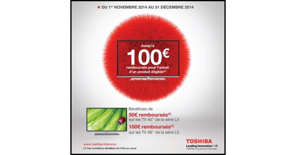 offre de remboursement odr toshiba jusqu 100 sur les tv de la s rie l5. Black Bedroom Furniture Sets. Home Design Ideas
