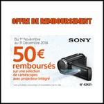 Offre de Remboursement (ODR) Sony : 50€ sur une sélection de Caméscopes - anti-crise.fr