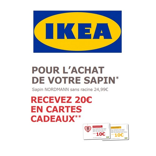 bon plan ikea 20 en cartes cadeaux sur votre sapin de no l catalogues promos bons plans. Black Bedroom Furniture Sets. Home Design Ideas