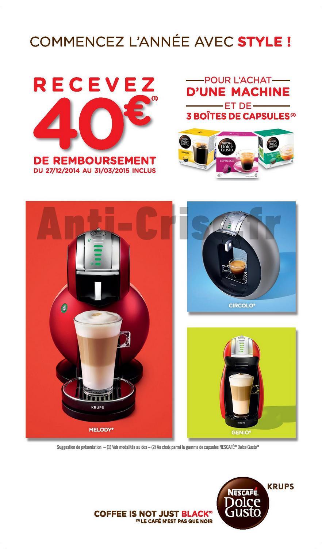 offre de remboursement odr 40 sur machine caf nescaf dolce gusto catalogues promos. Black Bedroom Furniture Sets. Home Design Ideas