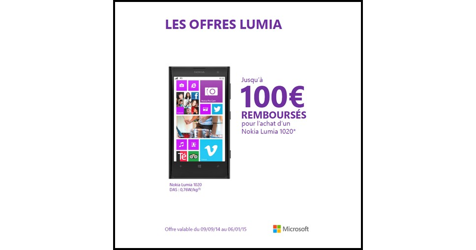 offre de remboursement odr nokia jusqu 100 sur lumia 1020. Black Bedroom Furniture Sets. Home Design Ideas