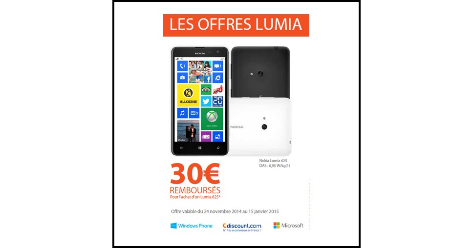 offre de remboursement odr nokia 30 sur nokia lumia 625. Black Bedroom Furniture Sets. Home Design Ideas