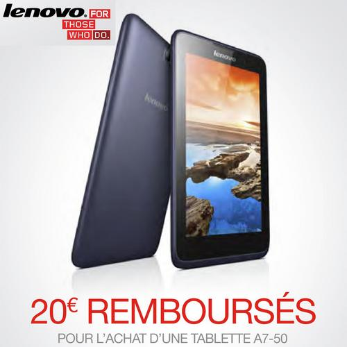 offre de remboursement odr 20 sur tablette lenovo a7 50. Black Bedroom Furniture Sets. Home Design Ideas
