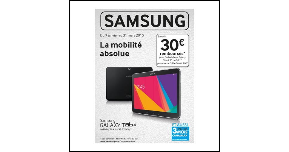 offre de remboursement odr samsung jusqu 30 sur tablette galaxy tab 4. Black Bedroom Furniture Sets. Home Design Ideas
