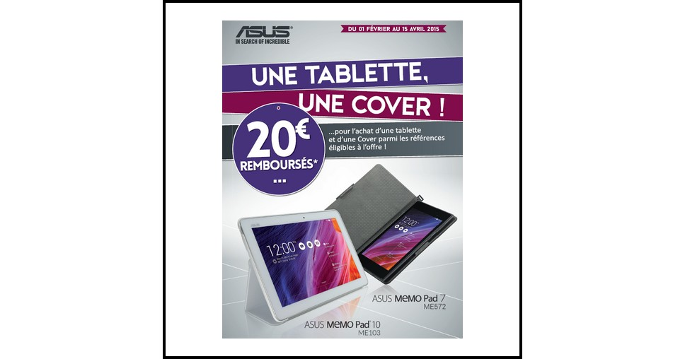 offre de remboursement odr asus 20 sur tablette memo pad ou transformer pad. Black Bedroom Furniture Sets. Home Design Ideas