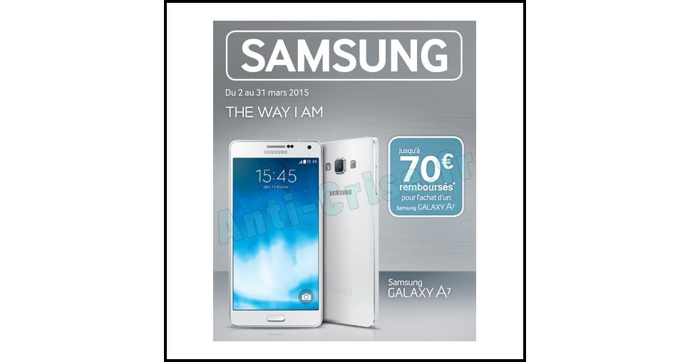offre de remboursement odr samsung jusqu 70 sur smartphone galaxy a7. Black Bedroom Furniture Sets. Home Design Ideas