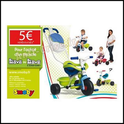 Offre de Remboursement Smoby : 5 € sur Tricycle Be Move - anti-crise.fr
