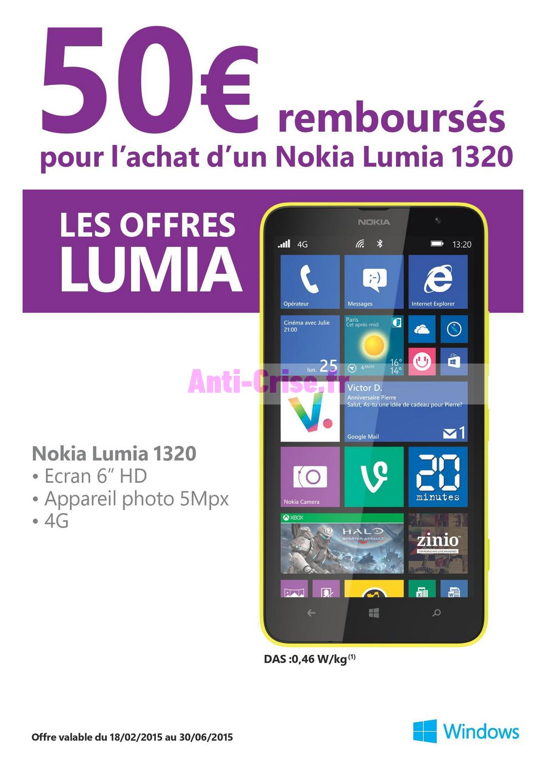 offre de remboursement odr nokia 50 sur smartphone lumia 1320. Black Bedroom Furniture Sets. Home Design Ideas