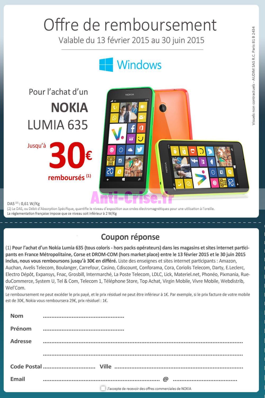 offre de remboursement odr nokia jusqu 30 sur smartphone lumia 635. Black Bedroom Furniture Sets. Home Design Ideas