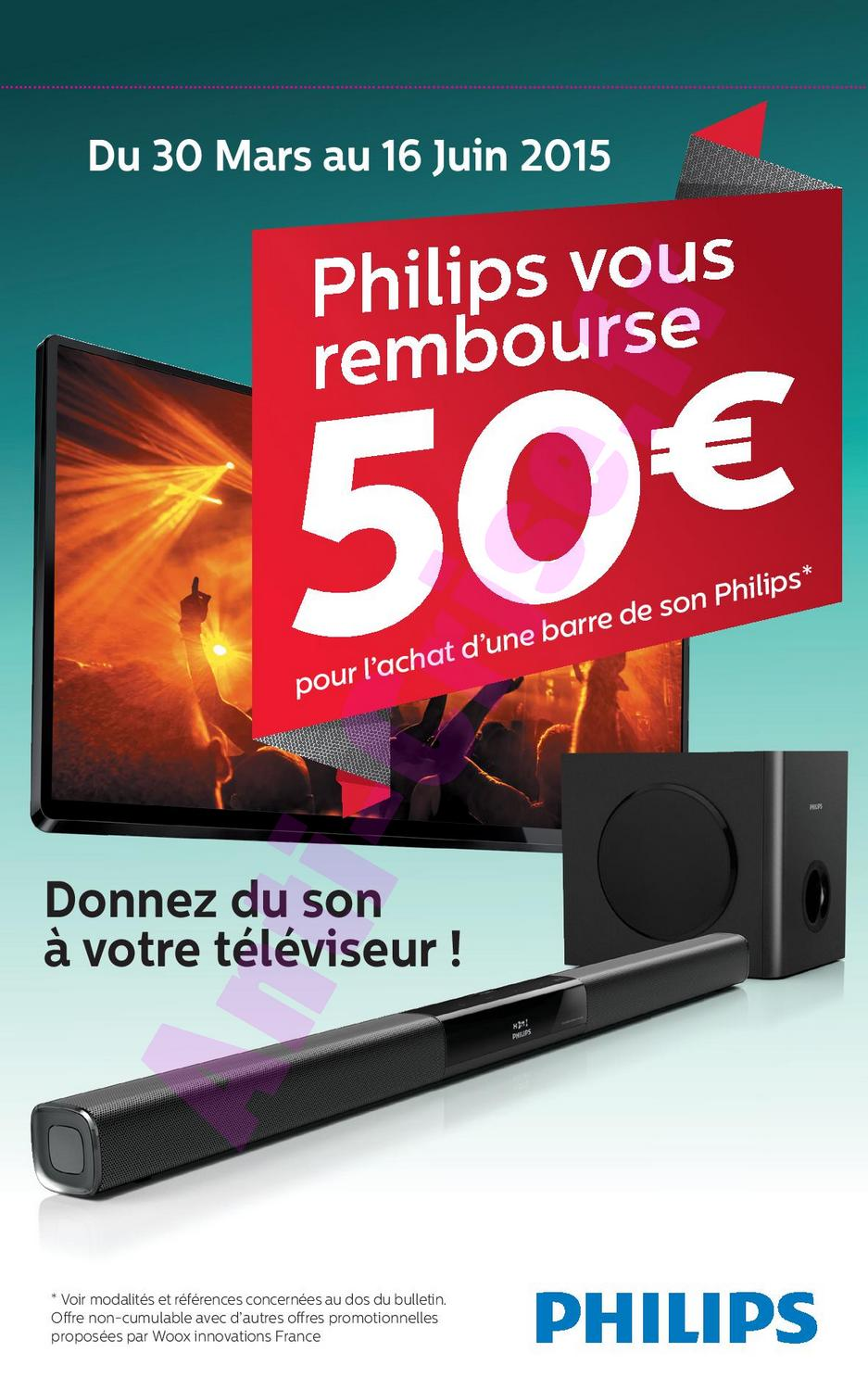 offre de remboursement odr philips 50 sur barre de son. Black Bedroom Furniture Sets. Home Design Ideas