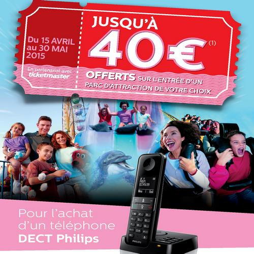 bon plan philips 40 offerts sur l entr e d un parc d attraction pour l achat d un t l phone dect. Black Bedroom Furniture Sets. Home Design Ideas
