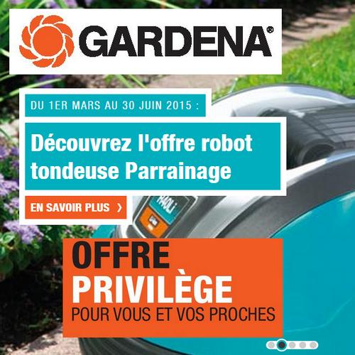 bon plan gardena offre de parrainage sur le robots de tonte. Black Bedroom Furniture Sets. Home Design Ideas