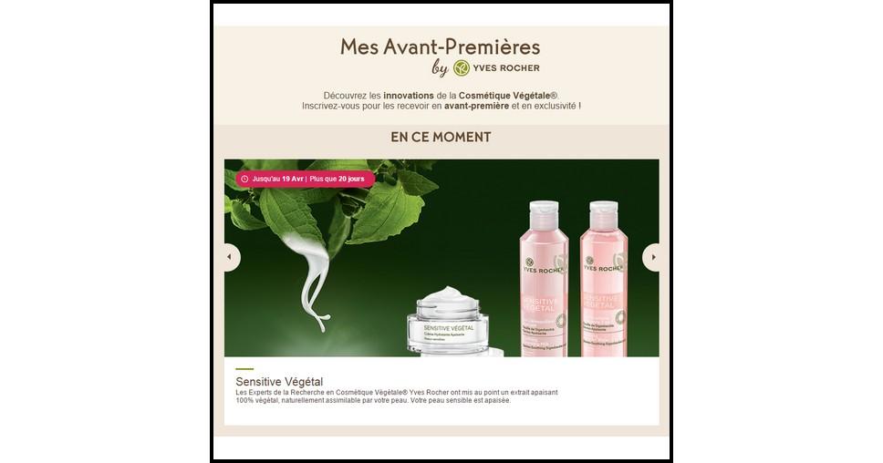 Test de Produit Yves Rocher sur Facebook : Sensitive Végétal - anti-crise.fr