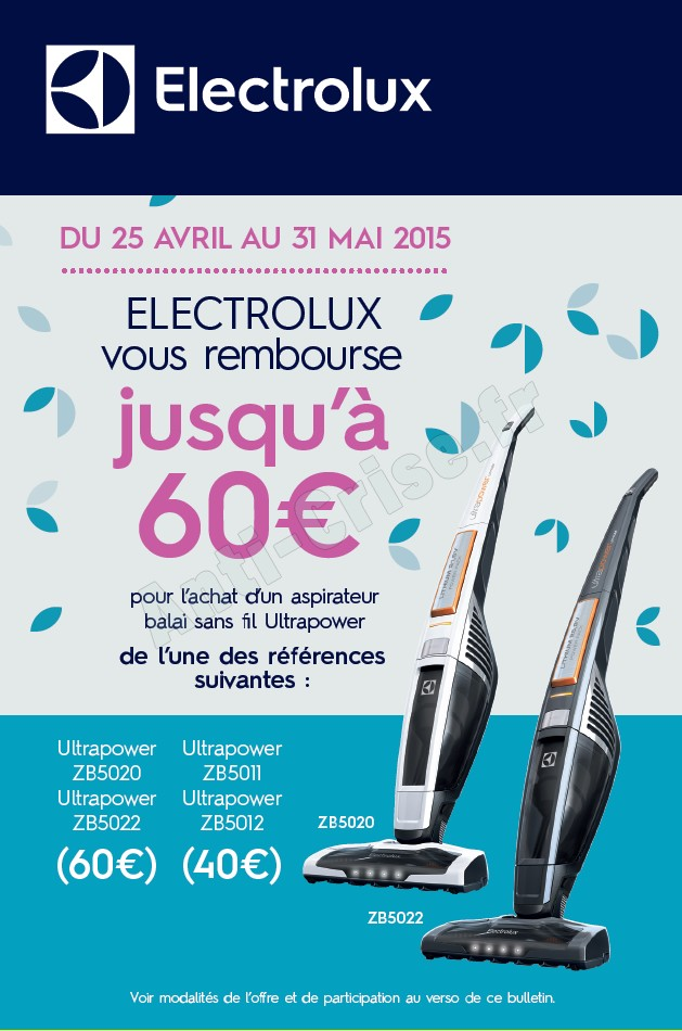 offre de remboursement odr electrolux 60 sur. Black Bedroom Furniture Sets. Home Design Ideas