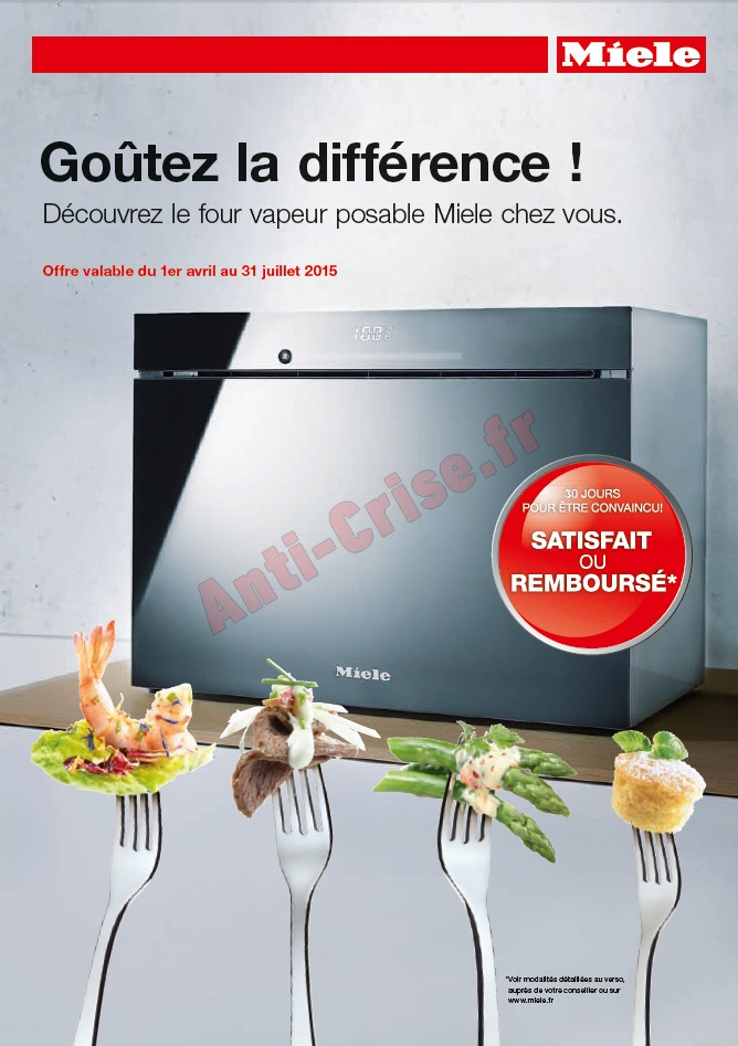 offre d essai odr miele four vapeur posable satisfait ou 100 rembours. Black Bedroom Furniture Sets. Home Design Ideas