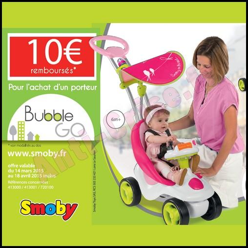 Offre de Remboursement (ODR) Smoby : 10 € sur Porteur Bubble Go - anti-crise.fr