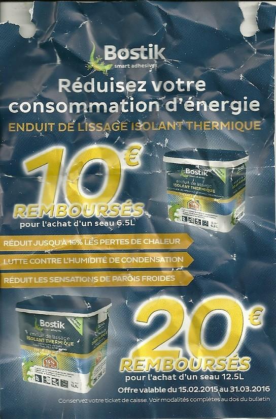 offre de remboursement odr bostik 20 sur enduit de lissage isolant thermique 31 03. Black Bedroom Furniture Sets. Home Design Ideas